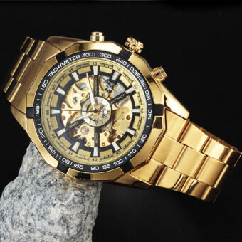 Forsining Stainless Steel Case Stainless Steel Strap Men Male Fashion Business Sport Casual Skeleton Automatic Mechanical Wrist Watch - GOLD + Black