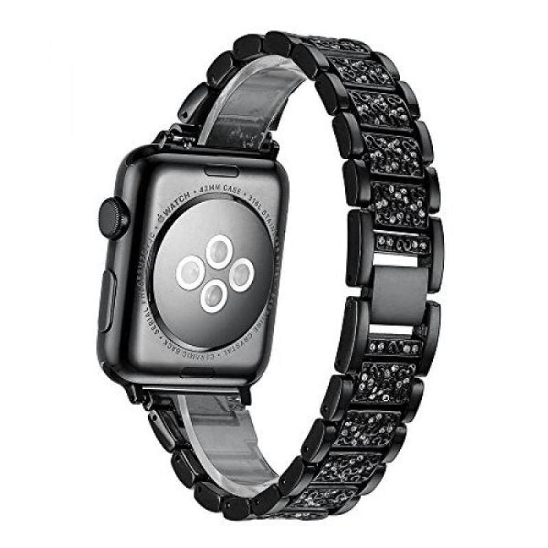 From USA Elobeth for Apple Watch Band, Stainless Steel Luxury Crystal Alloy Crystal Rhinestone Bracelet Strap for Apple Watch 42mm Black Malaysia
