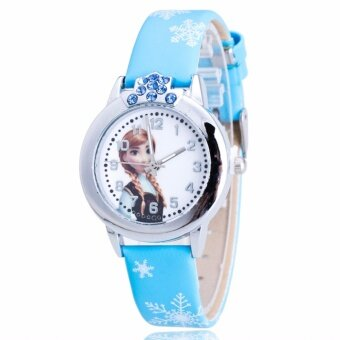 Harga Frozen Inspired Snow Queen Casual Leather Kid's Watch-Blue