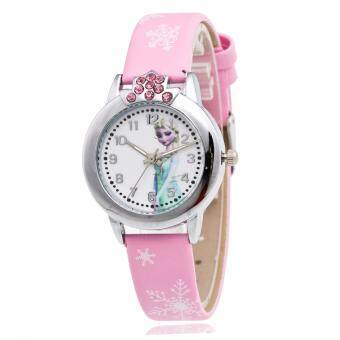 Harga Frozen Inspired Snow Queen Casual Leather Kid's Watch-Pink