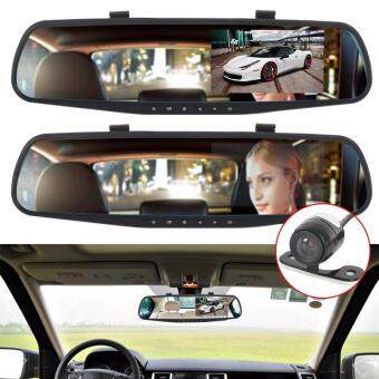 Full HD 1080P Car DVR Camera 4.3 Inch Rearview Mirror Dual ChannelDVR Camera Dash Cam Recorder with Night Vision (Black)