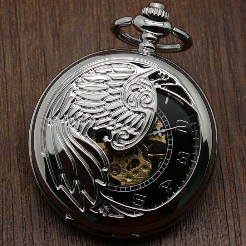 fuskm Creative mechanical watch animal phoenix pattern providespacket machine carved gold pocket watch (Grey) Malaysia