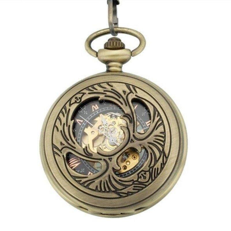 gaoshang Vintage Steampunk Retro Shiny Semi-hollow Phoenix WingsCarving Bronze Mechanical Hand Wind Pocket Watch for Men Women(Yellow) Malaysia