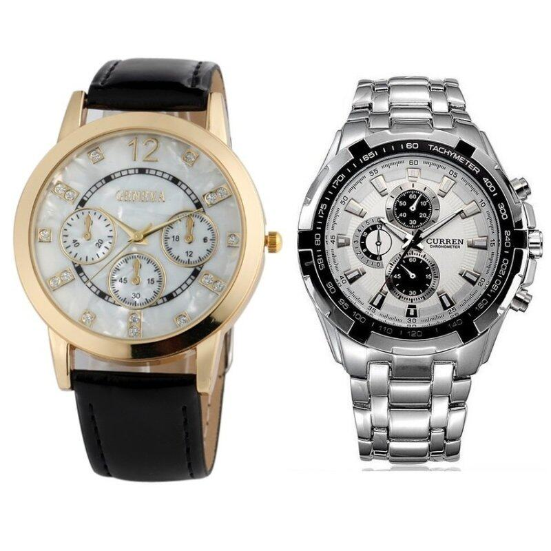Geneva Analogue Leather Watch Black Gold  + Curren 8023 Mens Silver White Stainless Steel watch Malaysia