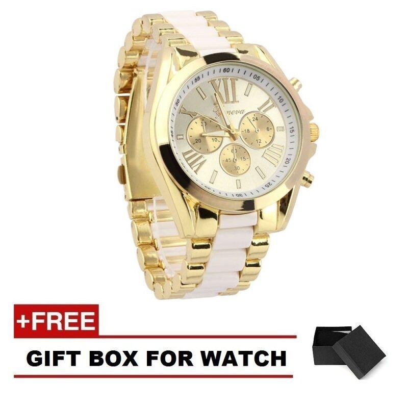 Geneva Classic 101 Luxury Men Stainless Steel Quartz Analog Wrist Watch- White/Gold (Free Watch Box) Malaysia