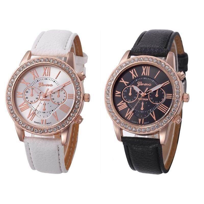 Geneva Fashion Womens Casual PU Leather Band Ladies Wrist Watch 2PCS Malaysia