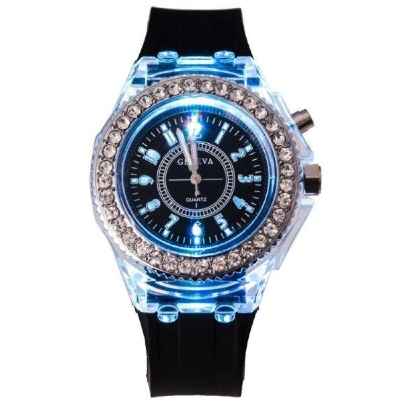 Geneva Women Fashion Watch Ladies Rhinestone LED Quartz Watch Couple Luminous Wrist Watch - Black Malaysia