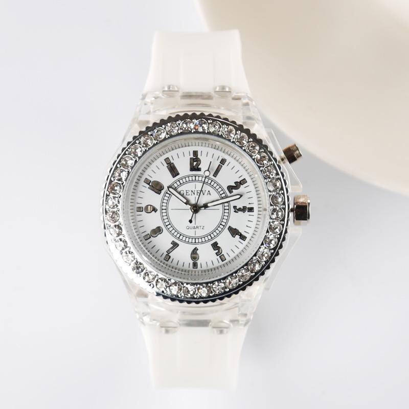 Geneva Women New Fashion Watch Ladies Rhinestone LED Quartz Watch Couple Luminous Wrist Watch - White Malaysia