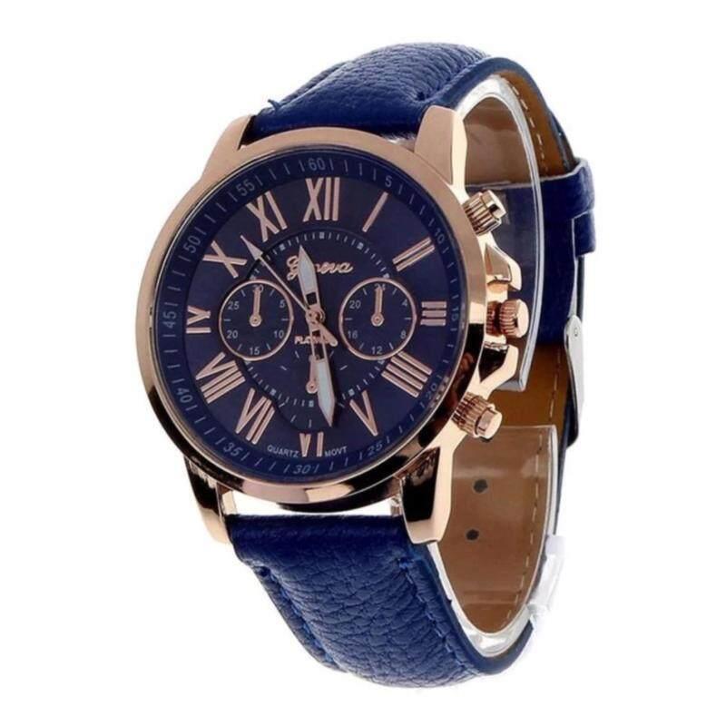 Geneva Womens Fashion Roman Numerals Faux Leather Analog Quartz Watch - Dark Blue Malaysia