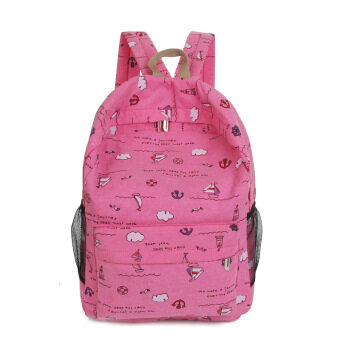 Harga Girl's Travel Backpack Canvas Shoulders Bag for School Students(hotpink)