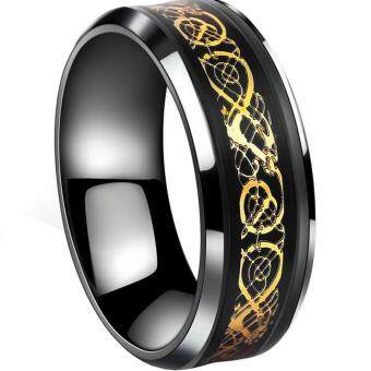 Harga Gold Plated Dragon Scale Dragon Pattern Beveled Edges Celtic RingsJewelry Wedding Band for Men