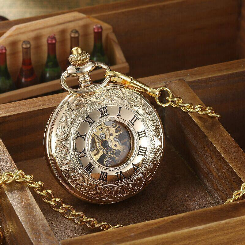 Golden Double Lid Pierced Retro Pocket Watch To Commemorate Pocket Watch Malaysia