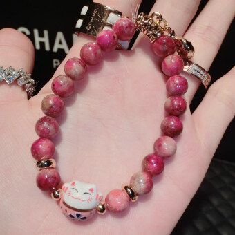 Harga Good luck transporter Dr. peach strawberry crystal lucky catbracelet