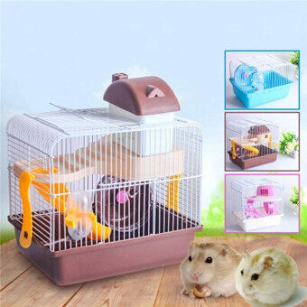 HAMSTER GERBIL MOUSE CAGE HOUSE 2 FLORR LEVEL WATER BOTTLE WHEELSLIDE