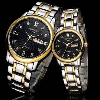 Harga Happy Buy Luxury Lovers Couple Gold Watch Men Women Casual DateWaterproof Stainless Steel Quartz Wristwatch Montre Homme Mujer