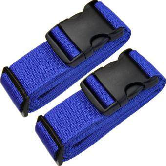 "Heavy Duty Adjustable Luggage Straps For Suitcase 16""~32\"" WithAddress Tag Suitcase Strap Travel Luggage Belt Travel AccessoriesLuggage Accessories Blue 2-Pack"