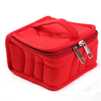 HengSong Portable 16 Bottles Essential Oil Bag Carrying Case DoubleZipper Travel Makeup Cosmetic Bag Red - 4
