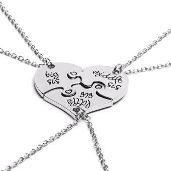 Harga Hequ 3 Piece Heart Personalized Hand Stamped big sis middle sislittle sis 3 Sister Necklace Family