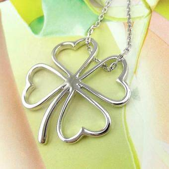 Harga Hequ Fashion Four Leaf Clover Pendants Women Heart Necklace JewelryPingentes Nepal Chain Casamento Charms Ulove