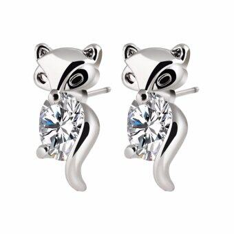 Hequ new chic Classic Animal Fox Stud Earrings Alloy Plated SilverGold Crystal Earring Gold(Silver)