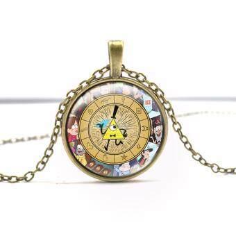 Hequ Steampunk Drama Gravity Falls Mysteries BILL CIPHER WHEELPendant Necklace Fashion Glass Men Handmade Pocket Watch