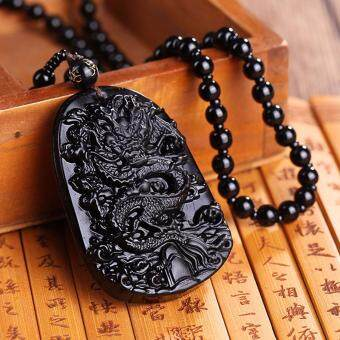 Harga Hequ Unique Natural Black Obsidian Carving Dragon Lucky AmuletPendant Necklace For Women Men pendants
