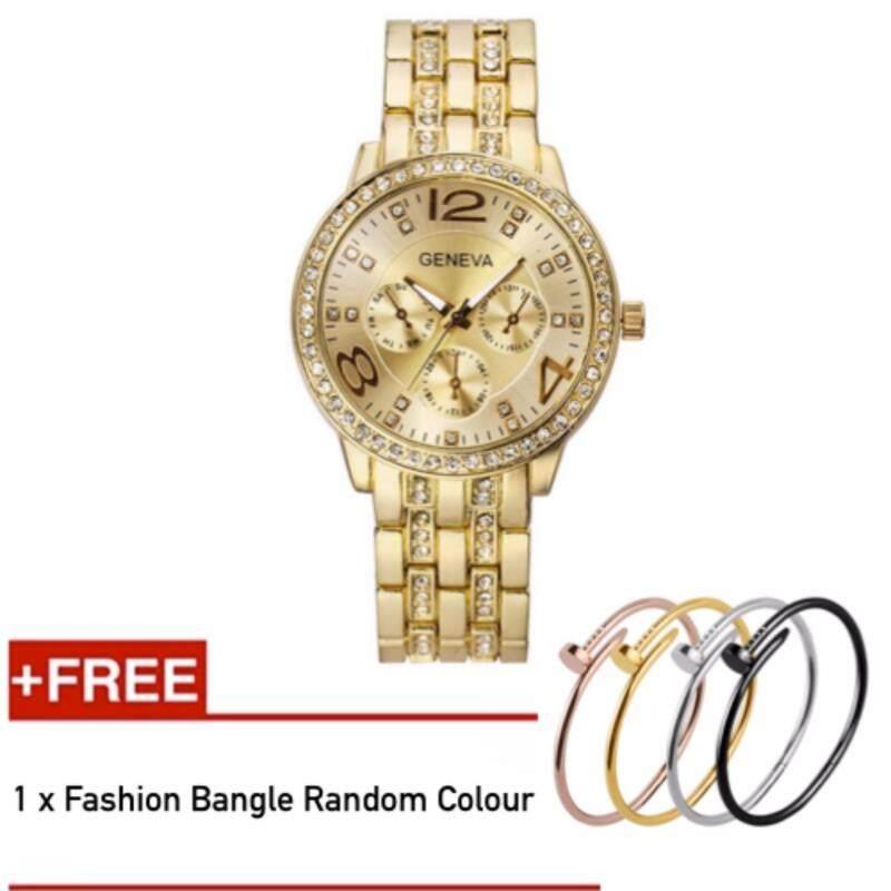 *High Quality* Geneva Womens Rhinestone Quartz ladies Analog Crystal Time watches + Bangle Random Color Malaysia