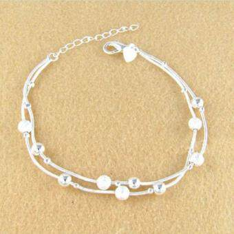 Harga High Quality Store New 925 Sterling Silver Plated Pearls DoubleChains Anklet Charm Anklets Bracelet