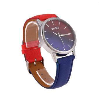 Harga High Qualiy!Gradient Color Leather Canvas Watch Quartz Sweet Girl's Wrist Watches Personality Casual Writwatch