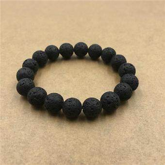 Harga Hot 10MM Black Lava Nature Stone Charm Bracelets & BanglesBeads Bracelet For Women Men Fashion Pulseras!