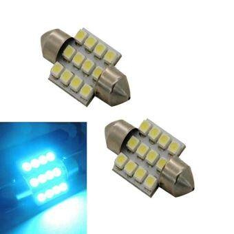 Harga Hot 2x Aqua Blue 31mm 12-SMD DE3175 DE3022 LED Bulbs For CarInterior light