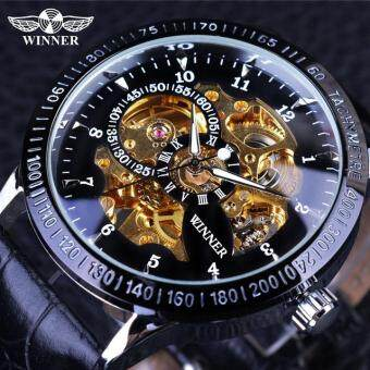 Harga Hot Sale Luxury Golden Luminous Automatic Mechanical Watch For MaleHollow Skeleton Dial Black Stainless Steel Band Wristwatches