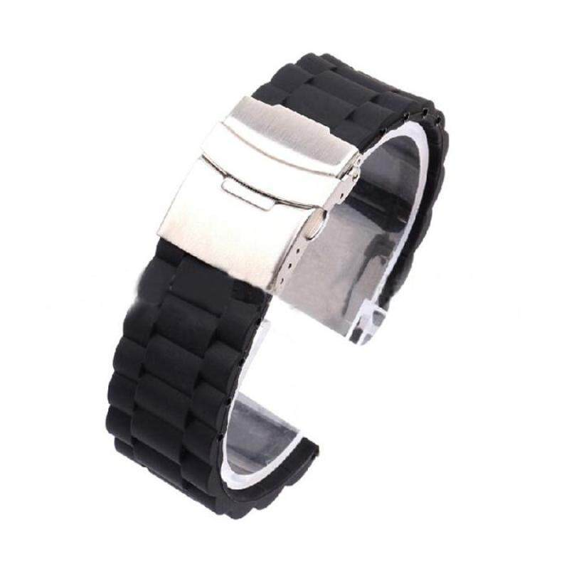 Hot Sale!Mens Silicone Rubber Watch Strap Band Waterproof with Deployment Clasp 24mm Malaysia