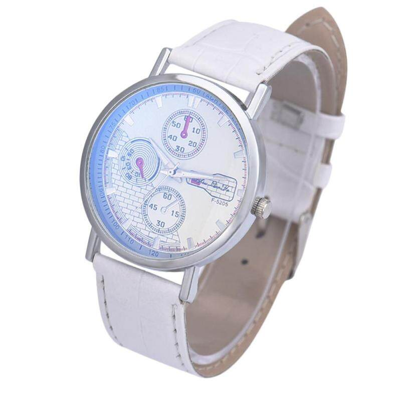 Hot Sale!Unisex Leather Band Analog Quartz Business Wrist Watch White Malaysia