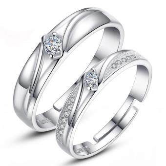 Harga Silver Adjustable Couple Rings Jewelry Affectionate Lovers Rings E018