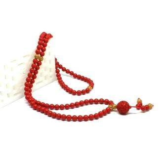 Harga Natural Red Cinnabar Auspicious Wealth 108 Beads Mix With Gold Foil Bracelet