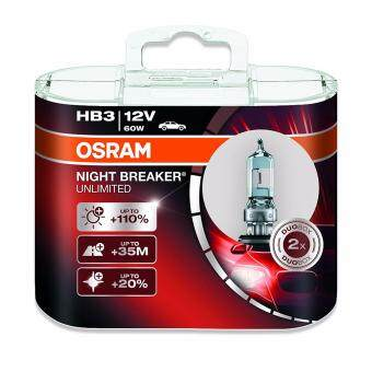 Harga OSRAM NIGHT BREAKER UNLIMITED HB3 halogen headlamp bulb 9005NBU-HCB +110% more light and +20% whiter light in double box