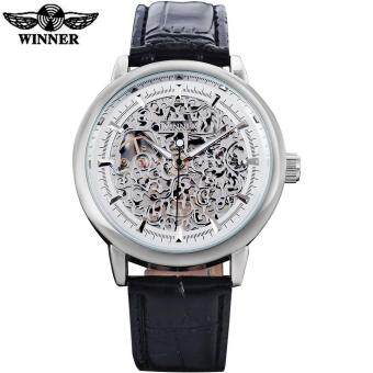 Harga WINNER 2016 china brand man watches fashion mechanical hand wind watch skeleton rose gold dial silver case quality leather band