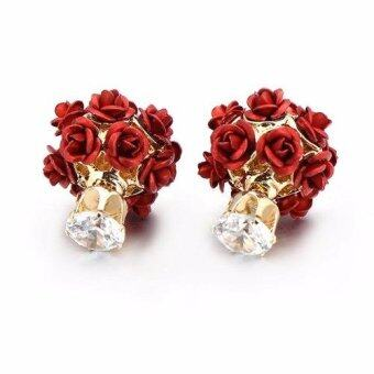 Harga FANCICO Fashion Rhinestone Crystal Metal Rose Flower Double Sided Stud Earrings Red