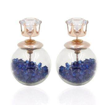 Harga FANCICO Crystal Ball Stud Earrings Women Bubble Earrings Double Sided Blue crystal