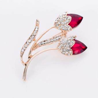 Harga FANCICO Red flower bouquet crystal rhinestone pin brooch jewelry Gift