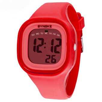 Harga Fashion Colorful Kid and Children's Silicone Sport Waterproof Digital Watches-Red(66896)