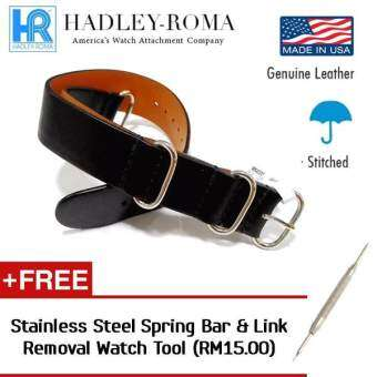 Harga HADLEY ROMA Military Style Leather NATO ZULU Watch Band Strap (Hand Made in USA) - BLACK 22MM
