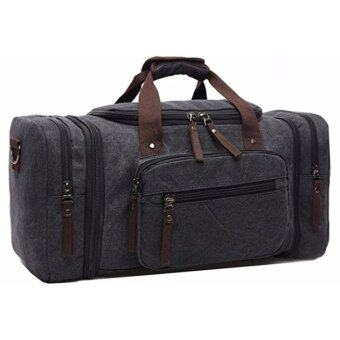 Harga Unisex Canvas Travel Bag Duffel Bag Weekend Bag with Strap for Men Women