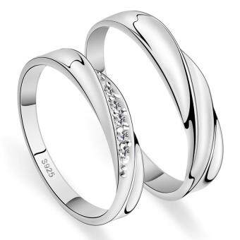 Harga Silver Adjustable Couple Rings Jewelry Affectionate Lovers Rings E004