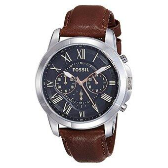 Harga Fossil Men's FS4813 Grant Stainless Steel Watch with Brown Leather Band