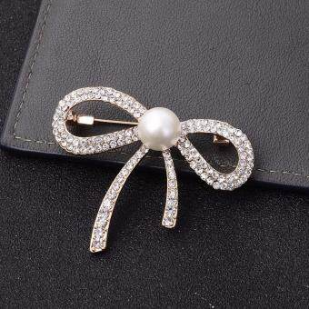Harga FANCICO White Pearl Clear Rhinestone Simple Bow-knot Brooch Pins
