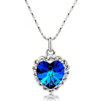 Harga La Vie Jewelry Silver Plating Zircon Lucky Hearts Necklace (Sapphire)