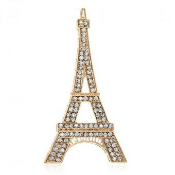 Harga FANCICO Rhinestone Crystal Eiffel Tower Brooches Gold
