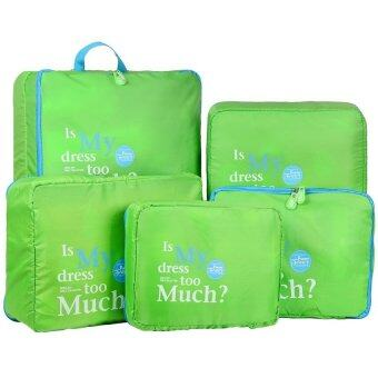 Harga Travel Luggage Organizer Storage Pouch Waterproof Bag 5pcs-Green